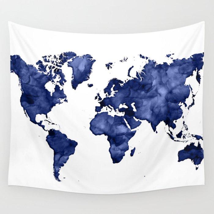 Dark navy blue watercolor world map wall tapestry by blursbyaishop dark navy blue watercolor world map wall tapestry gumiabroncs Images