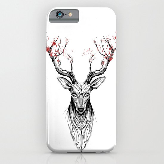 Deer tree (black stroke version for t-shirts) iPhone & iPod Case