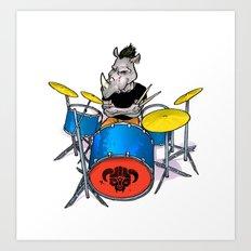 Rhino Punk Art Print