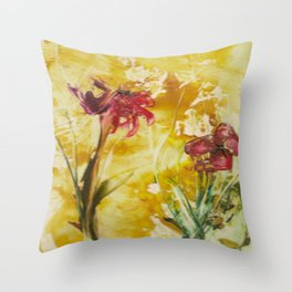 Abstract Red Poppies From Original Encaustic Art Throw Pillow