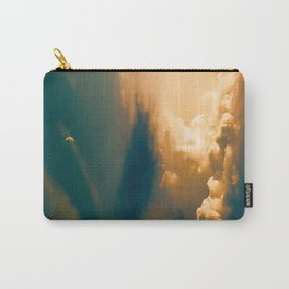 Heavenly Pastel Beige Clouds Turquoise Space Crescent Moon Fantasy Photo Carry-All Pouch