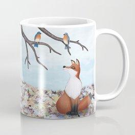 fox and eastern bluebirds Coffee Mug