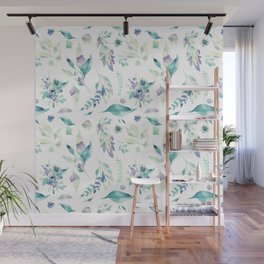Modern jade green lavender watercolor floral Wall Mural