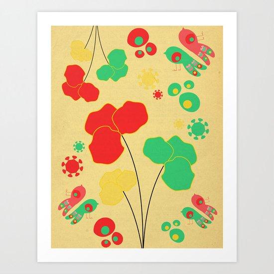 Flower Birds Art Print