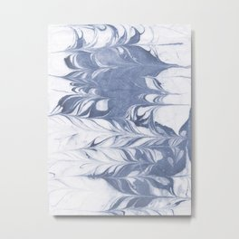 Setsuko - spilled ink marble abstract watercolor painting marbling japanese wave pattern Metal Print