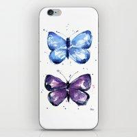 Butterflies Watercolor Blue and Purple Butterfly iPhone & iPod Skin