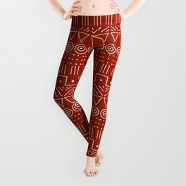 Mudcloth Style 1 in White on Red Leggings
