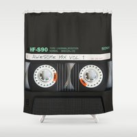 smaug Shower Curtains featuring cassette classic mix by neutrone