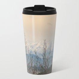 Snowy mountains through the trees Travel Mug