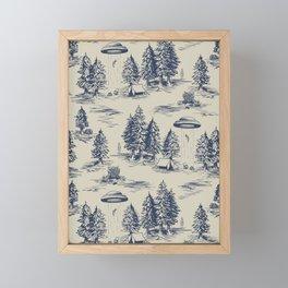 Alien Abduction Toile De Jouy Pattern in Blue Framed Mini Art Print