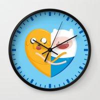 best friends Wall Clocks featuring Best friends  by Manfred Maroto
