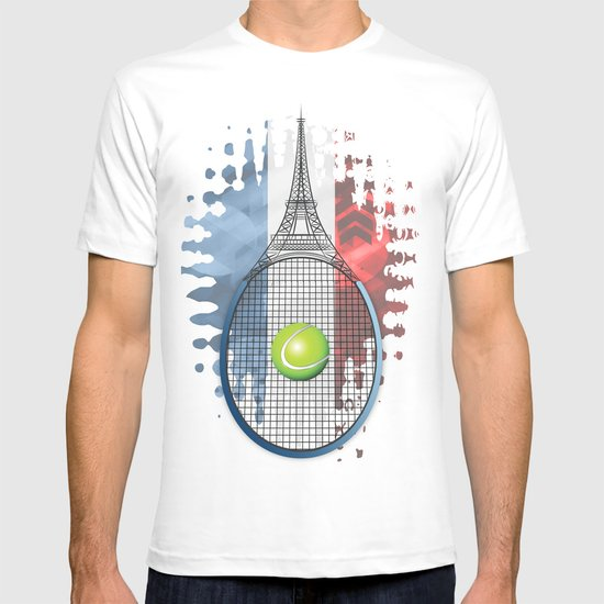 Racquet Eiffel Tower with French flag colors in background T-shirt