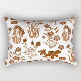 Brown Flowers Pattern Rectangular Pillow