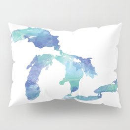 Great Lakes Watercolor Map Art Pillow Sham