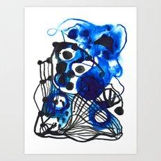 Paint 5 abstract minimal modern painting trendy bold painterly dorm college urban apartment decor Art Print