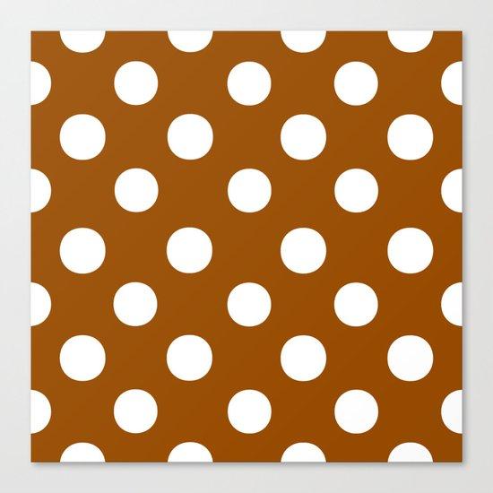 Polka Dots (White/Brown) Canvas Print