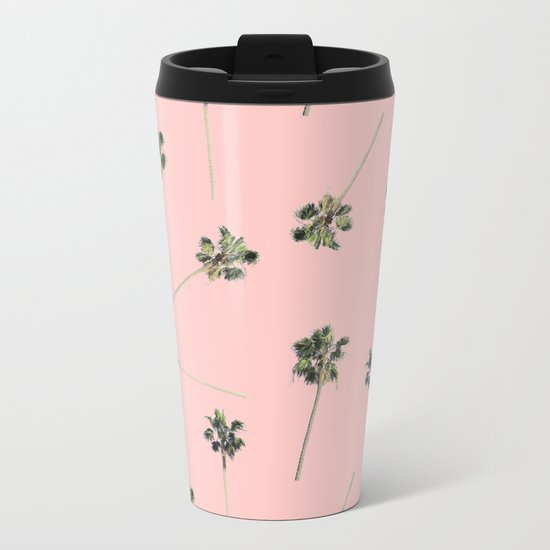 Palms on Pink Metal Travel Mug