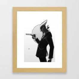 Robot Assassin, Black and White Framed Art Print