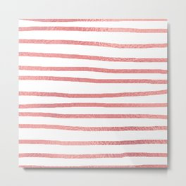 Simply Drawn Stripes Warm Rose Gold on White Metal Print