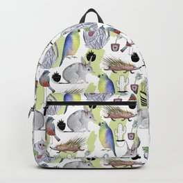 Seamless pattern with the monkey, Bilby, parrot, cactus, bird, porcupine. Jungle style. Summer backg Backpack