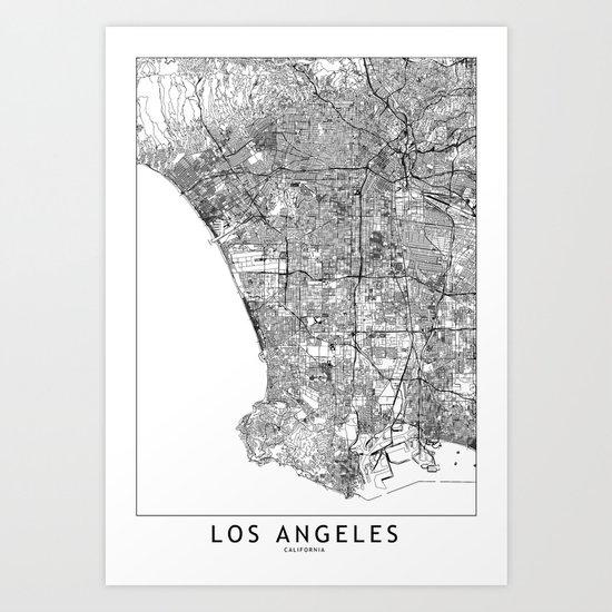 Los Angeles White Map Art Print