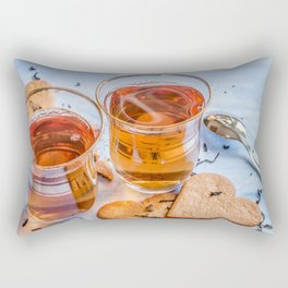 Black tea in two small tea glasses with heart shaped ginger cookies on pastel background Rectangular Pillow