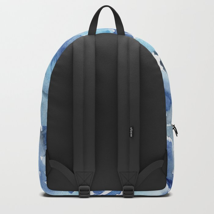 Watercolor madness in blue Backpack