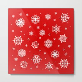 White Snowflakes on Red Metal Print