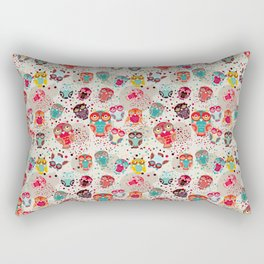 pattern with colorful owls on cream background Rectangular Pillow