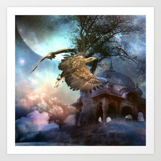 Awesome flying eagle Art Print
