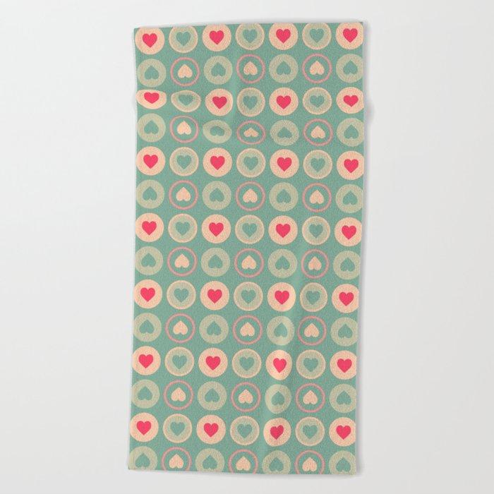 Cookie Love Retro Pattern Beach Towel