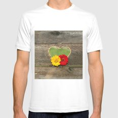 Wooden Heart with Flowers White MEDIUM Mens Fitted Tee