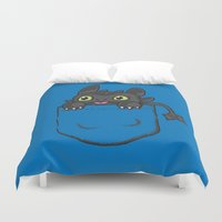 hiccup Duvet Covers featuring Pocket Toothless by Tabner's