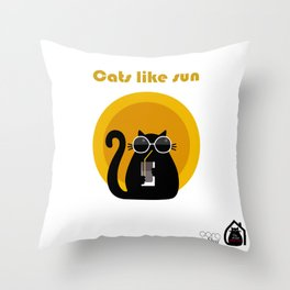 """Cats like sun"" by Qora & Shaï Throw Pillow"