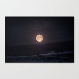Full Moon over the Ocean Canvas Print
