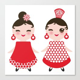 Spanish Woman flamenco dancer. Kawaii cute face with pink cheeks and winking eyes. Gipsy girl Canvas Print
