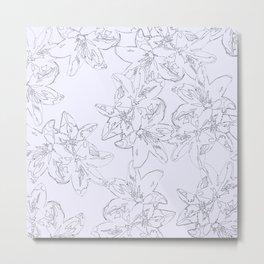 lavender line art floral pattern Metal Print