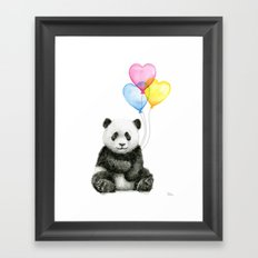 Panda Baby with Heart-Shaped Balloons Whimsical Animals Nursery Decor Framed Art Print