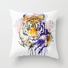 Tiger Head Portrait Throw Pillow