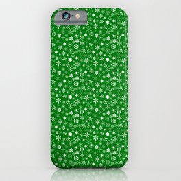 Evergreen Green & White Christmas Snowflakes iPhone Case