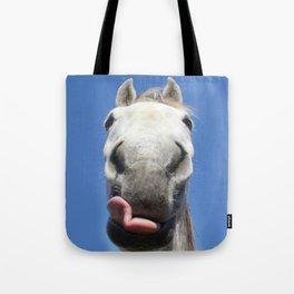 Horse Licks Photography Print Tote Bag