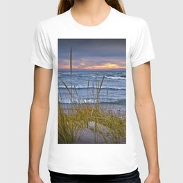 Sunset Photograph of a Dune with Beach Grass at Holland Michigan No 0199 T-shirt