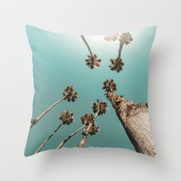 {1 of 2} Palm Trees = Happy // Teal Summer Sky Throw Pillow