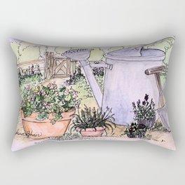 Garden Tools Watercolor Illustration Watercolor Rectangular Pillow