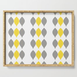Geometric Petals and Leaves in Illuminating Yellow & Ultimate Gray Serving Tray