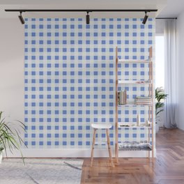 Gingham Pattern in palace blue Wall Mural