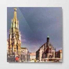 Nuremberg Market Scene Metal Print