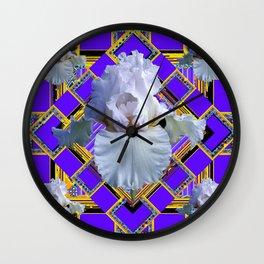 ART DECO WHITE IRIS PURPLE ART Wall Clock