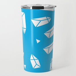White Crystals on Blue Travel Mug
