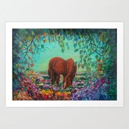 Horse in the Field Art Print